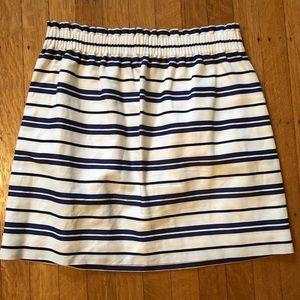 Navy and white JCrew striped skirt